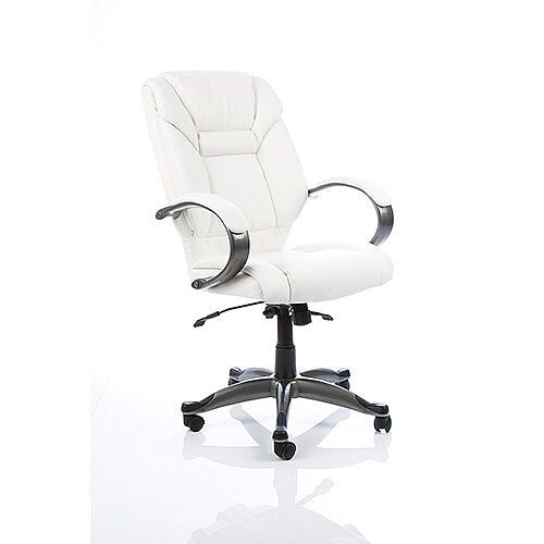 Galloway Executive Office Chair White Leather With Arms
