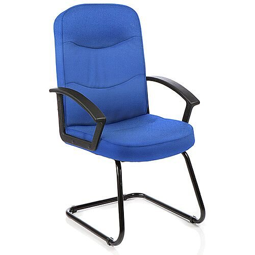 Harley Boardroom &Visitor Cantilever Chair Blue Fabric With Arms