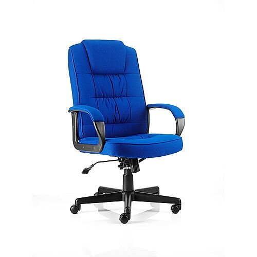 Moore Executive Office Chair Blue Fabric With Arms