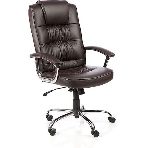 Moore Deluxe Executive Office Chair Brown Leather With Arms