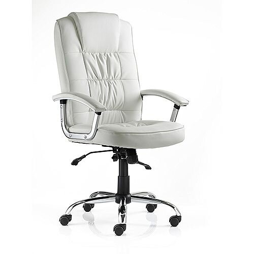 Moore Deluxe Executive Office Chair White Leather With Arms