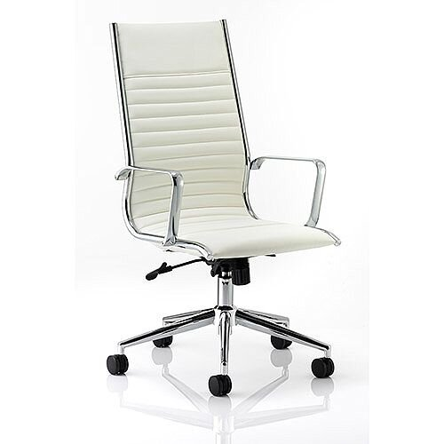 Ritz Executive Office Chair Ivory Bonded Leather High Back With Arms