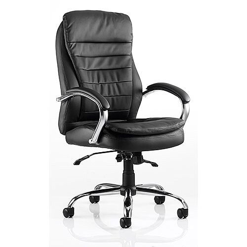 Rocky Executive Office Chair Black Leather High Back With Arms