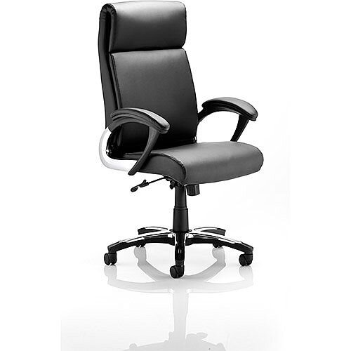 Romeo Executive Folding Office Chair Black Leather With Arms