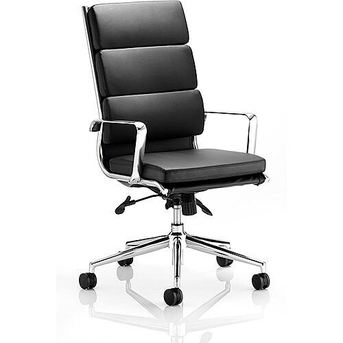 Savoy Executive Office Chair Black Bonded Leather High Back With Arms