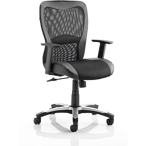 Victor Executive Office Chair Black Leather Black Mesh With Arms