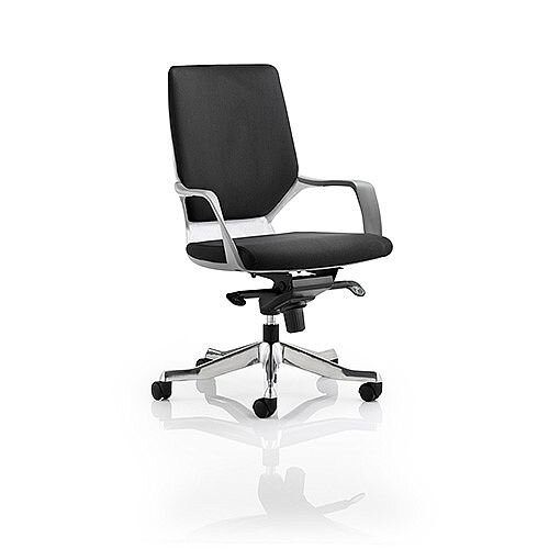 Xenon Executive White Frame Office Chair Black Fabric Medium Back With Arms