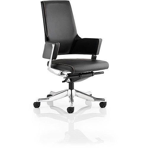 Enterprise Executive Office Chair Black Bonded Leather Medium Back With Arms