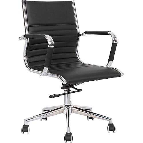 Heiro Medium Back Black Faux Leather Designer Executive Office Chair With Arms