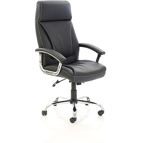 Penza Executive High Back Black Leather Office Chair With Arms