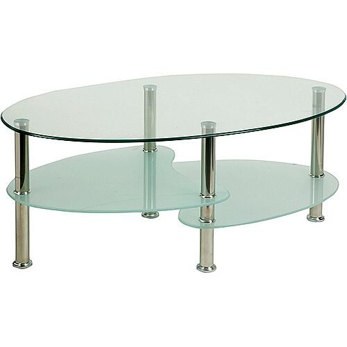 Berlin Reception Coffee Table With Chrome Legs And Shelves