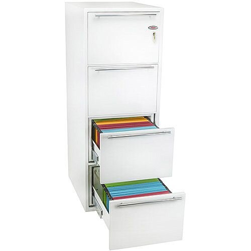 Phoenix Archivo Fire File FS2234K 4 Drawer Filing Cabinet with Key Lock White