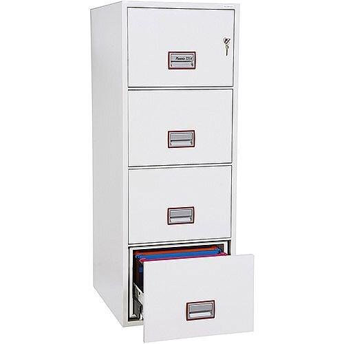 Phoenix World Class Vertical Fire File FS2254K 4 Drawer Filing Cabinet with Key Lock White
