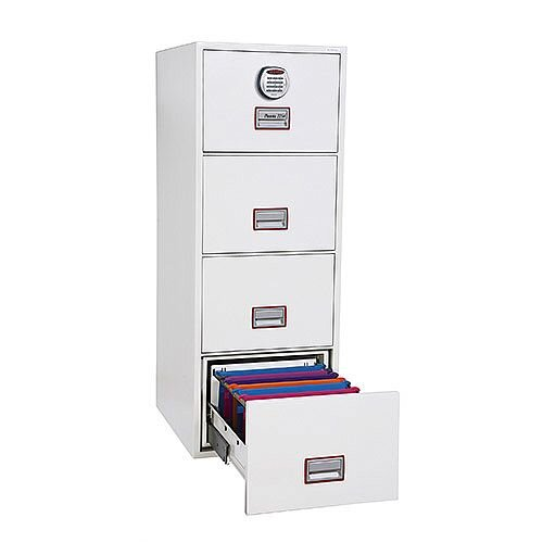 Phoenix World Class Vertical Fire File FS2264E 4 Drawer Filing Cabinet with Electronic Lock White