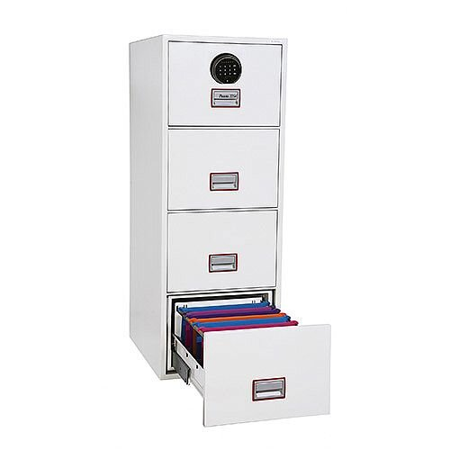 Phoenix World Class Vertical Fire File FS2264F 4 Drawer Filing Cabinet with Fingerprint Lock White