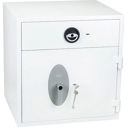 Phoenix Diamond Deposit HS1091KD Size 1 High Security Euro Grade 1 Deposit Safe with Key Lock White 112L