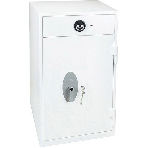Phoenix Diamond Deposit HS1093KD Size 3 High Security Euro Grade 1 Deposit Safe with Key Lock White 199L