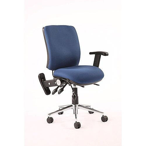 Chiro Medium Back Task Operator Office Chair Blue With Height Adjustable &Folding Arms