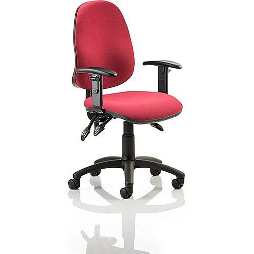 Eclipse III Lever Task Operator Office Chair Wine With Height Adjustable Arms