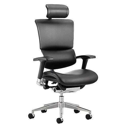 Ergo-Dynamic Ergonomic Posture Office Chair Black Bonded Leather Black Frame With Arms &Headrest