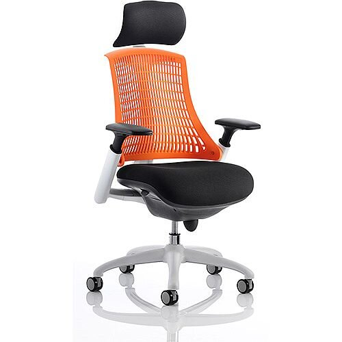 Flex Task Operator Office Chair White Frame Black Fabric Back With Orange Back With Arms &Headrest
