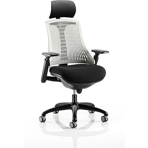 Flex Task Operator Office Chair Black Frame With Black Fabric Seat Moonstone White Back With Arms &Headrest
