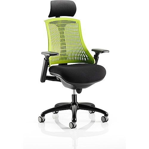 Flex Task Operator Office Chair Black Frame With Black Fabric Seat Green Back With Arms &Headrest