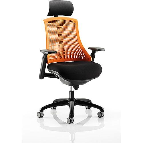 Flex Task Operator Office Chair Black Frame With Fabric Seat Orange Back Arms
