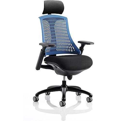Flex Task Operator Office Chair Black Frame With Black Fabric Seat Blue Back With Arms &Headrest