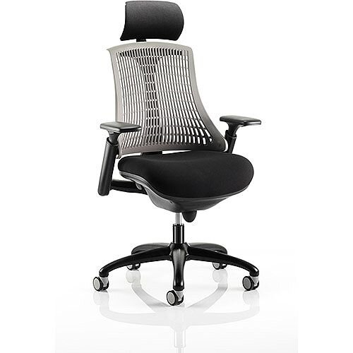 Flex Task Operator Office Chair Black Frame With Black Fabric Seat Grey Back With Arms &Headrest