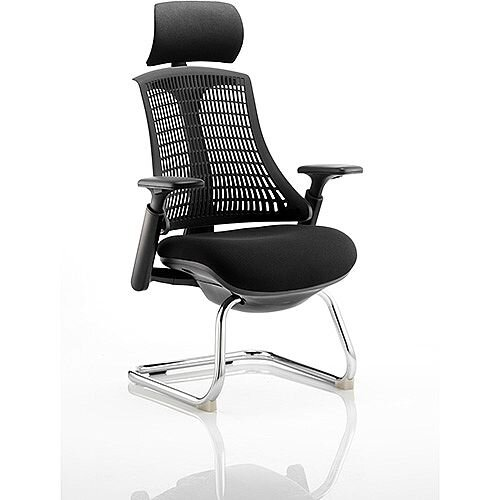 Flex Boardroom &Visitor Cantilever Chair Black Frame Black Fabric Seat With Black Back With Arms &Headrest