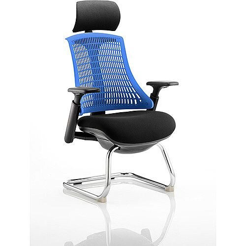 Flex Boardroom &Visitor Cantilever Chair Black Frame Black Fabric Seat With Blue Back With Arms &Headrest