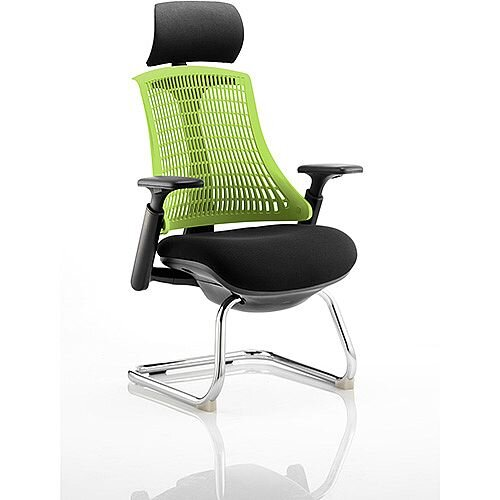 Flex Boardroom &Visitor Cantilever Chair Black Frame Black Fabric Seat With Green Back With Arms &Headrest