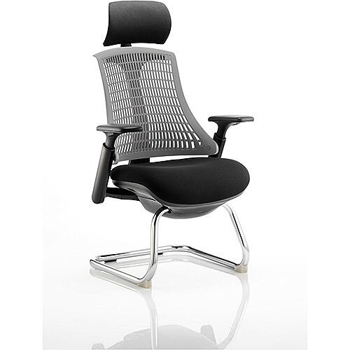 Flex Boardroom &Visitor Cantilever Chair Black Frame Black Fabric Seat With Grey Back With Arms &Headrest