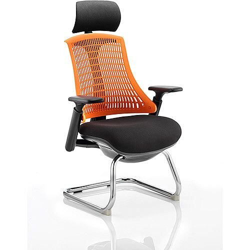 Flex Boardroom &Visitor Cantilever Chair Black Frame Black Fabric Seat With Orange Back With Arms &Headrest