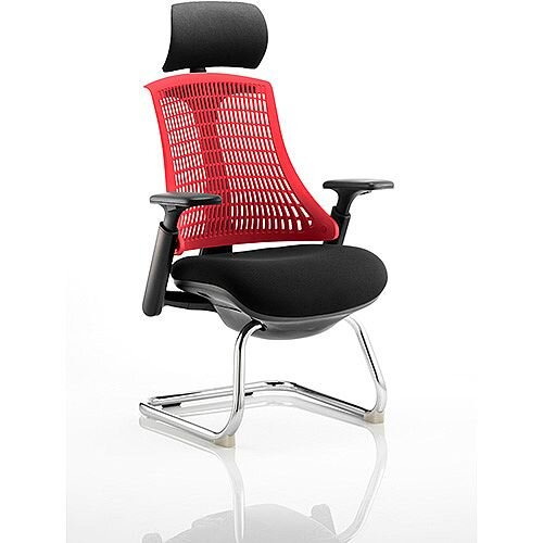 Flex Boardroom &Visitor Cantilever Chair Black Frame Black Fabric Seat With Red Back With Arms &Headrest