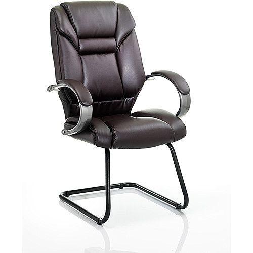 Galloway Boardroom &Visitor Cantilever Chair Brown Leather With Arms