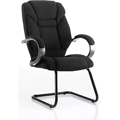 Galloway Boardroom &Visitor Cantilever Chair Black Fabric With Arms
