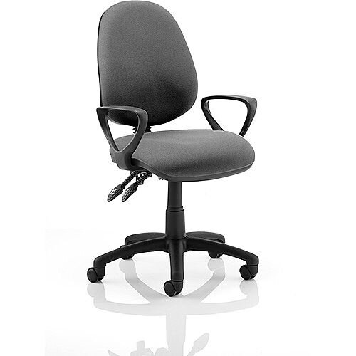 Luna II Lever Task Operator Office Chair Charcoal With Loop Arms