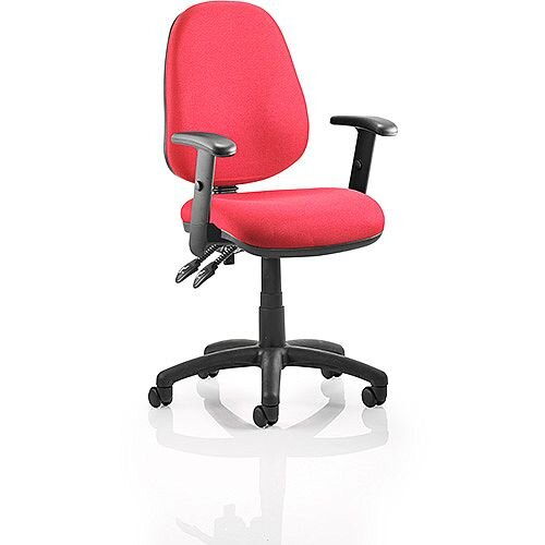 Luna II Lever Task Operator Office Chair Burgundy With Height Adjustable Arms