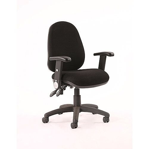 Luna II Lever Task Operator Office Chair Black With Height Adjustable &Folding Arms