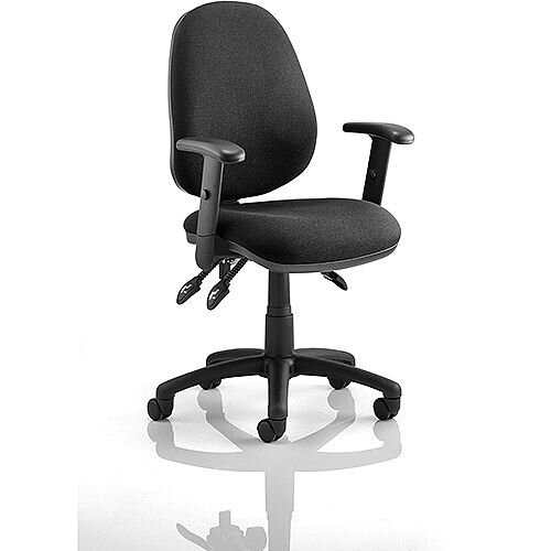 Luna III Lever Task Operator Office Chair Black With Height Adjustable Arms