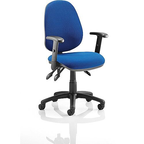 Luna III Lever Task Operator Office Chair Blue With Height Adjustable Arms