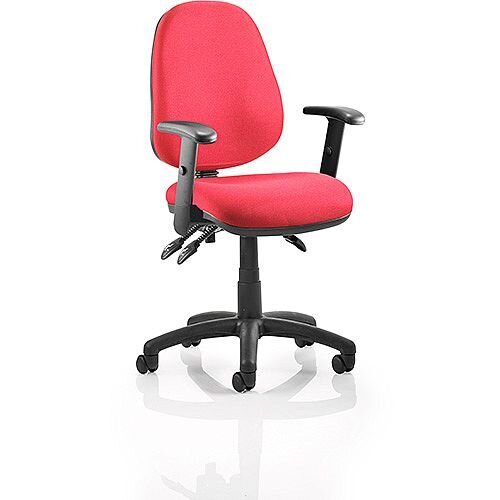 Luna III Lever Task Operator Office Chair Burgundy With Height Adjustable Arms