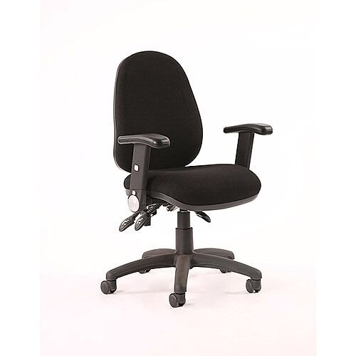 Luna III Lever Task Operator Office Chair Black With Height Adjustable &Folding Arms