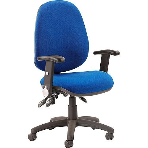 Luna III Lever Task Operator Office Chair Blue With Height Adjustable &Folding Arms