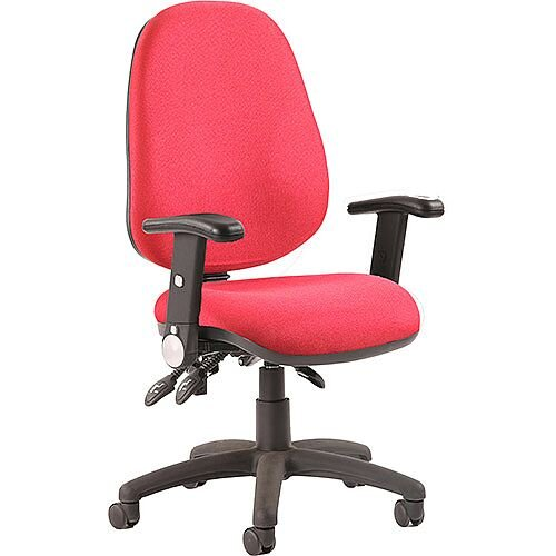 Luna III Lever Task Operator Office Chair Burgundy With Height Adjustable &Folding Arms