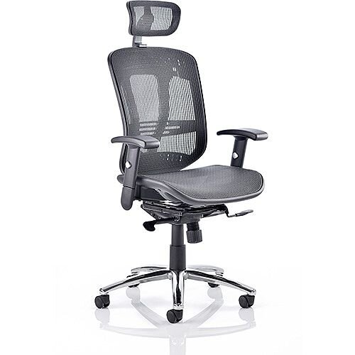 Mirage II Executive Office Chair Black Mesh With Arms &Headrest