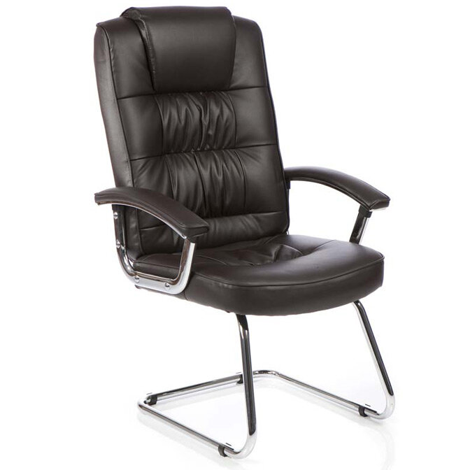 Moore Deluxe Boardroom &Visitor Cantilever Chair Brown Leather With Arms