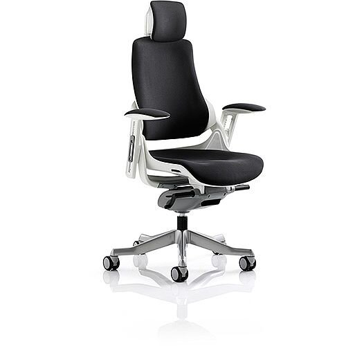 Zure Executive Office Chair Black Fabric With Arms &Headrest